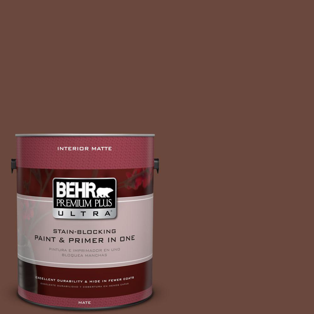 BEHR Premium Plus Ultra 1 gal. #BXC-45 Classic Brown Matte Interior Paint and Primer in One