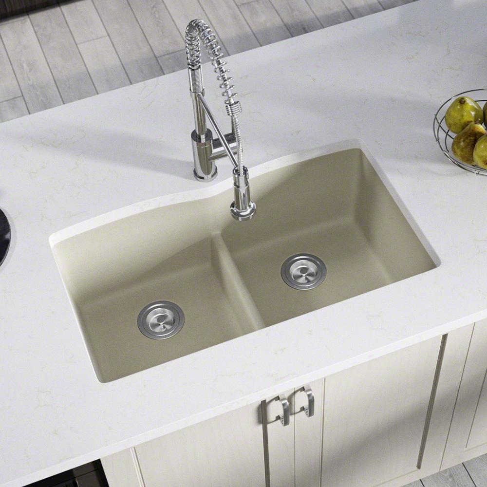 MR Direct Undermount Kitchen Sink Composite Granite 33 in. Low-Divide Equal  Double Basin in. Slate
