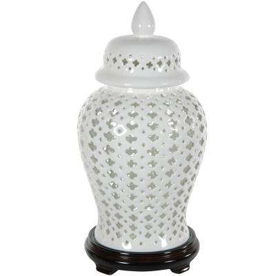Oriental Furniture 17 in. Porcelain Decorative Vase in White