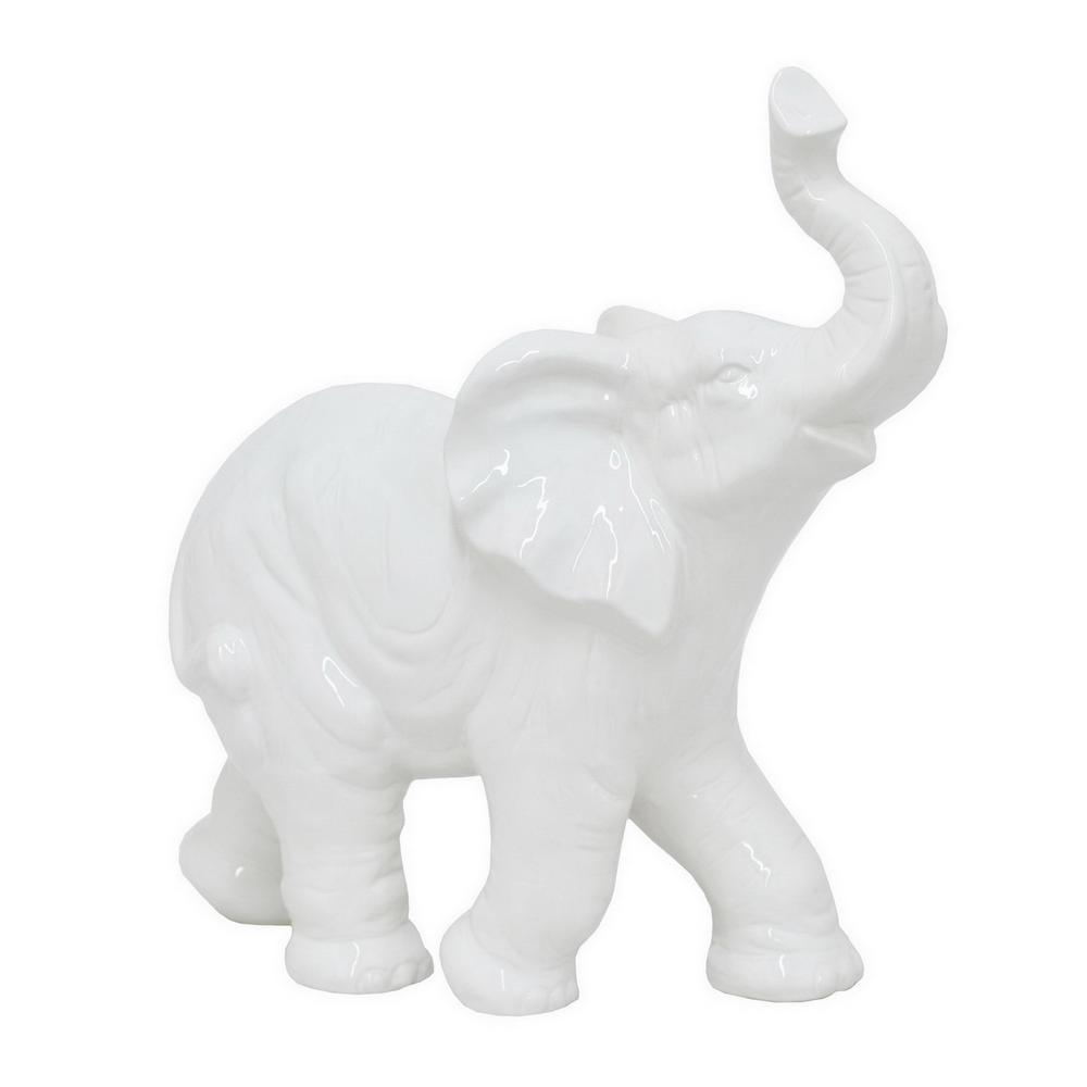 15.5 in. White Ceramic Elephant Tabletop