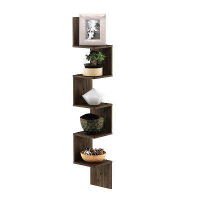 5 Tier Columbia Walnut Wall Mount Floating Corner Square Shelf
