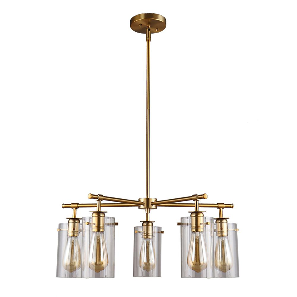 Brooklyn Collection 5-Light Antique Brass Chandelier with Clear Glass Shades
