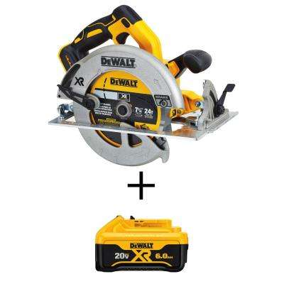 20-Volt MAX Lithium-Ion Cordless Brushless 7-1/4 in. Circular Saw with Brake (Tool-Only) w/ Bonus Battery Pack 6.0 Ah