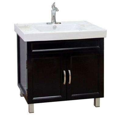Flemish B 32 in. Single Vanity in Black with Porcelain Vanity Top in White