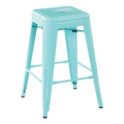 24 in. Mint Green Steel Backless Barstool Mint (2-Pack)