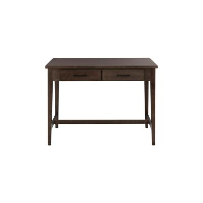 42 in. Rectangular Brown 2 Drawer Writing Desk with Built-In Storage
