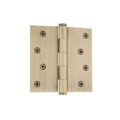 4 in. Button Tip Residential Hinge with Square Corners in Vintage Brass