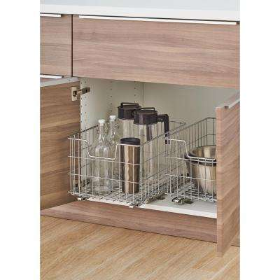EcoStorage 13 in. W x 17.75 in. D x 11 in. H Chrome Wire in Cabinet Pull-Out Bottom Mount Wire Basket