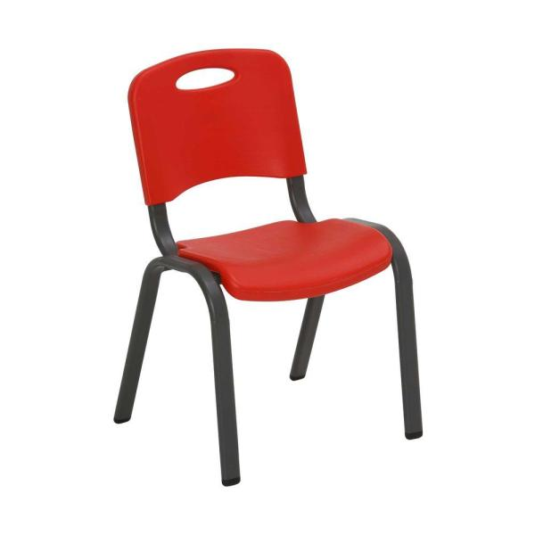 Fire Red Stacking Kids Chair (Set of 4)