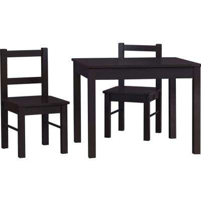 Shelby 3-Piece Espresso Kid's Table and Chairs Set