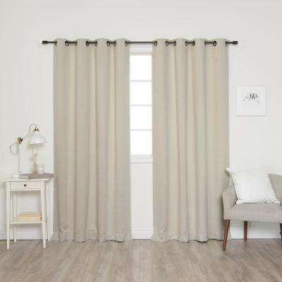 52 in. W x 84 in. L Onyx Grommet Blackout Curtains in Ivory (2-Pack)