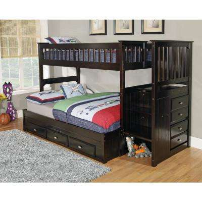 Espresso Twin over Full Staircase Solid Pine Bunkbed with 7-Drawers