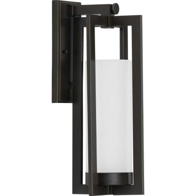 Progress Lighting Janssen Collection 1-Light Oil Rubbed Bronze Etched Glass Craftsman Outdoor Large Wall Lantern Light