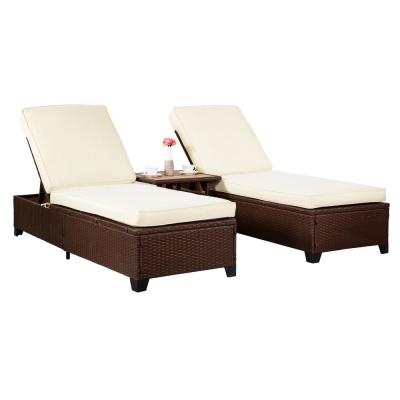 Aveiro Brown Wicker Outdoor Lounge Chair with Tan Cushions