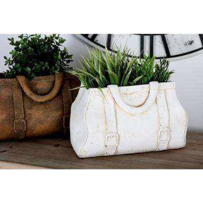 8 in x 12 in. White Concrete Purse Planter