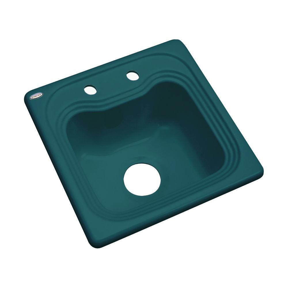 Thermocast Oxford Drop-In Acrylic 16 in. 2-Hole Single Basin Entertainment Sink in Teal