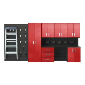 modular wall mounted garage cabinet storage set with workstation and accessories in blackred carbon