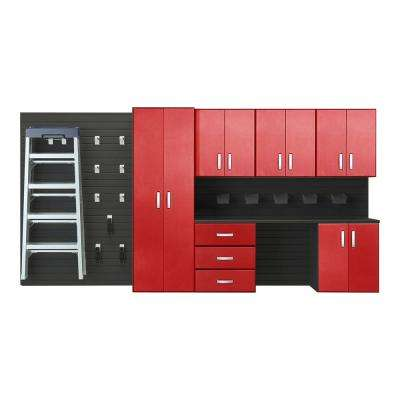 Modular Wall Mounted Garage Cabinet Storage Set with Workstation and Accessories in Black/Red Carbon Fiber (22-Piece)