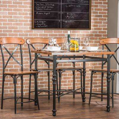 Broxburn Vintage Industrial 5-Piece Medium Brown Wood Pub Set