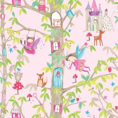 Woodland Fairies Pink Paper Strippable Wallpaper (Covers 57.26 sq. ft.)