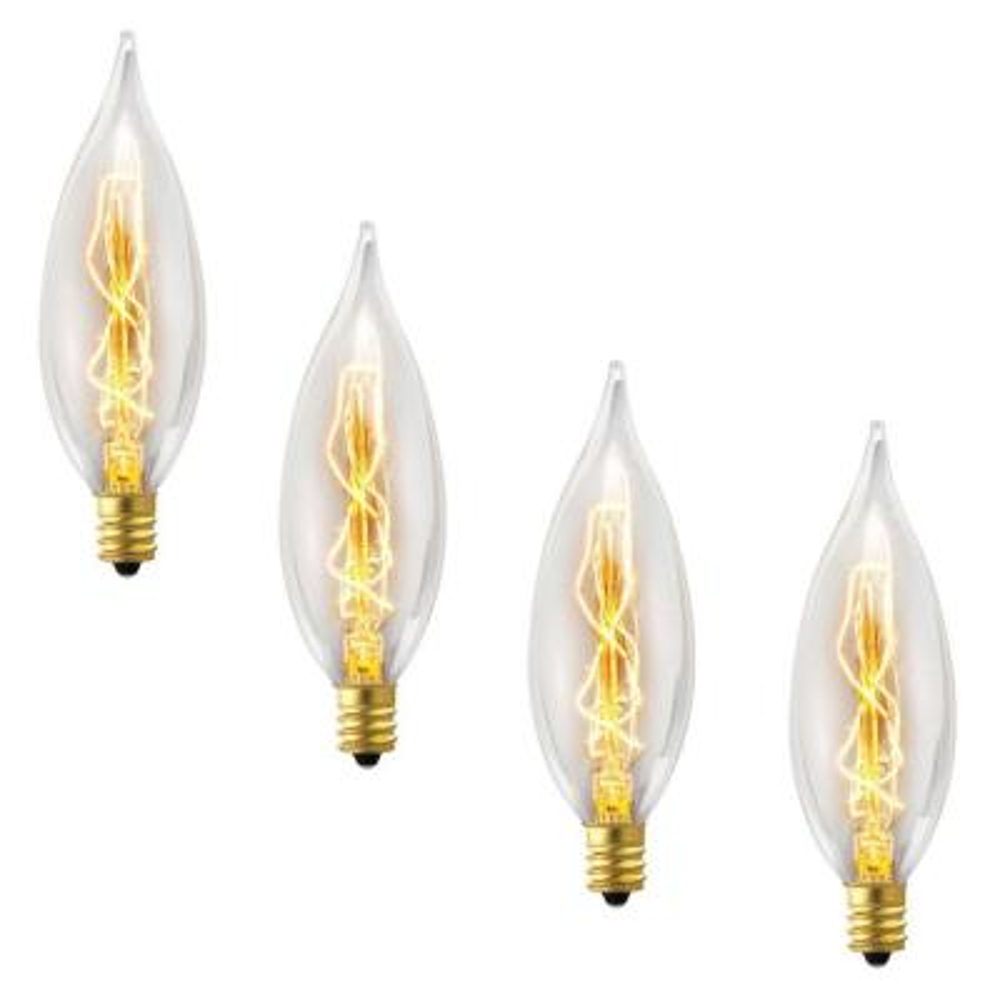 25-Watt Incandescent CA10 Vintage Edison Light Bulb - Vintage Style Light Bulb (4-Pack)