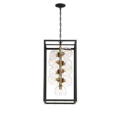 Bentley Collection 9-Light Black Chandelier with Bronze Shade