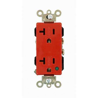 Decora Plus 20 Amp Hospital Grade Extra Heavy Duty Self Grounding Duplex Outlet with Power Indication, Red