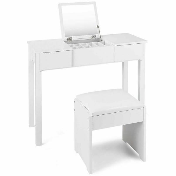 Costway 2-Piece White Vanity Dressing Table Set Mirrored Bedroom Furniture With Stool And Storage Box-HW53894WH - The Home Depot
