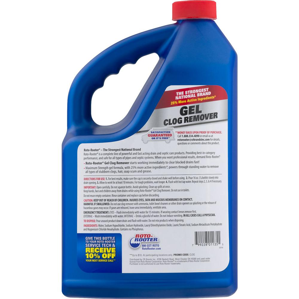 Roto Rooter 128 Oz Drain Gel Clog Remover Maximum Strength 01135 The Home Depot