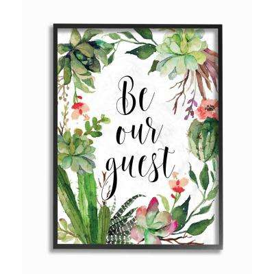 """16 in. x 20 in. """"Be Our Guest Floral Wreath Family Typography"""" by Tara Moss Printed Framed Wall Art"""