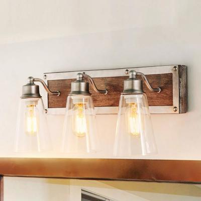 3-Light Farmhouse Antique Gray Wood Vanity Light with Clear Bell-shaped Glass Shades