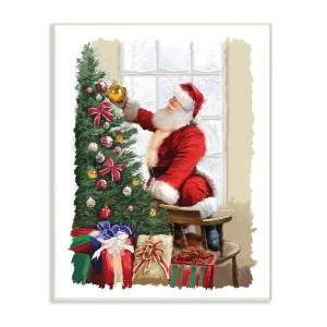 12 5 In X 18 5 In Holiday Santa Decorating Christmas Tree With Gifts Painting By Artist P S Art Wood Wall Art