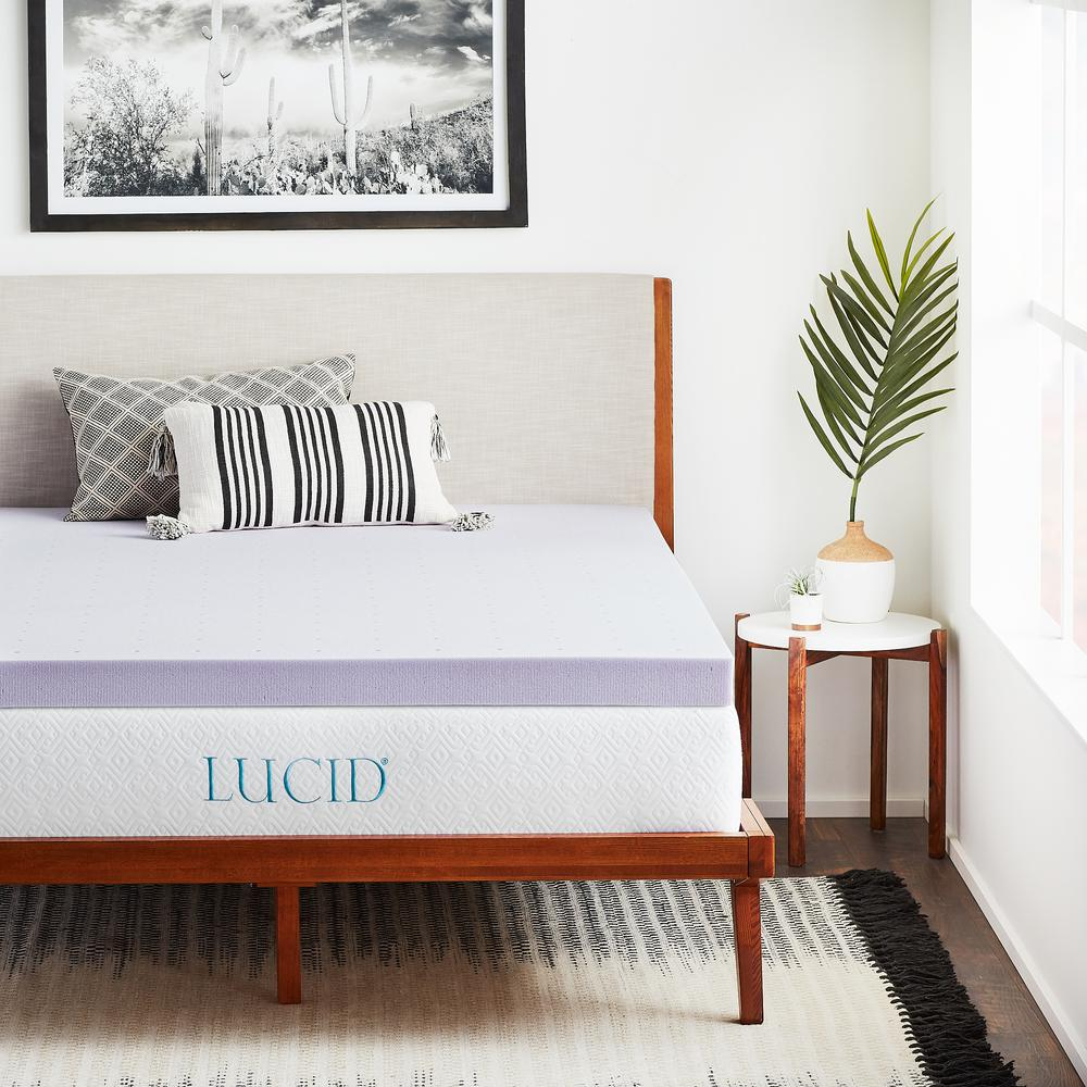 Lucid 3 In King Lavender Memory Foam Mattress Topper Hdlu30kk30vt