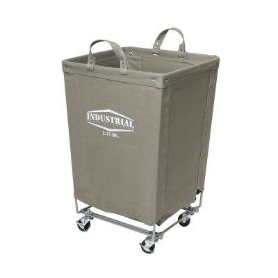 Gray Commercial Canvas Laundry Hamper Cart with Wheels
