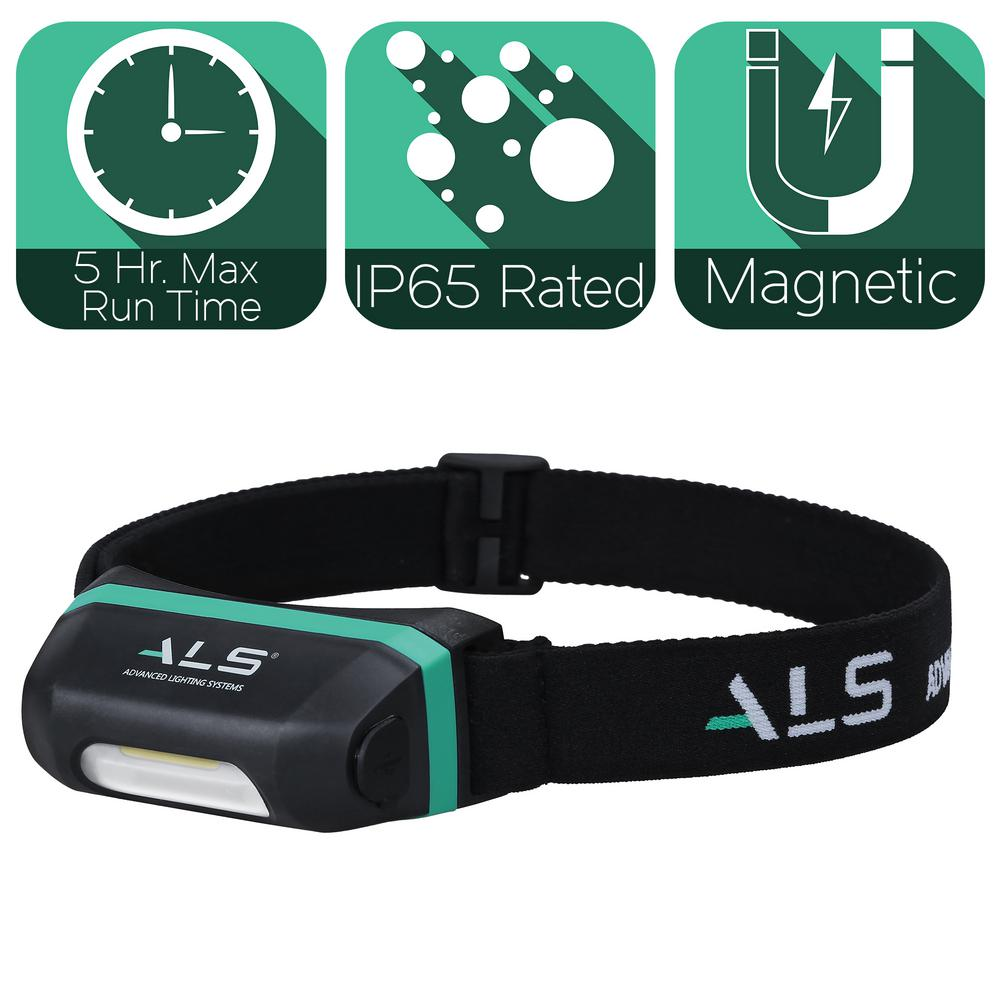 Advanced Lighting Systems 120 Lumens LED Mini Heavy-Duty Magnetic Rechargeable and Detachable Head Lamp with Brightness Memory, Turquoises / Aquas