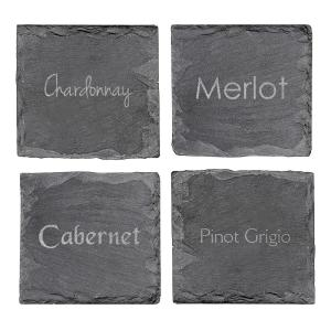 4 inch x 4 inch Wine Connoisseur Slate Coasters by