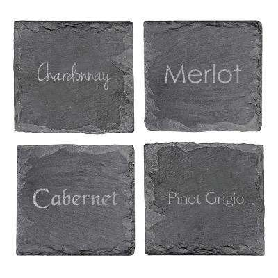 4 in. x 4 in. Wine Connoisseur Slate Coasters