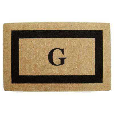 Single Picture Frame Black 30 in. x 48 in. HeavyDuty Coir Monogrammed G Door Mat