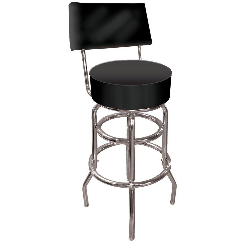Trademark High Grade 30 in. Chrome Swivel Cushioned Bar Stool