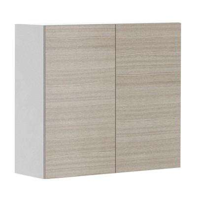 Ready to Assemble 33x30x12.5 in. Geneva Wall Cabinet in White Melamine and Door in Silver Pine