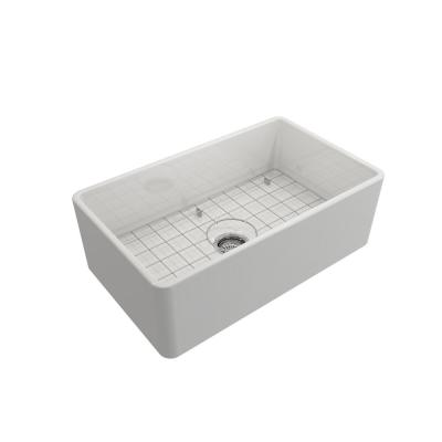 Farmhouse Apron-Front Fireclay 30 in. Single Bowl Kitchen Sink in White with Grid