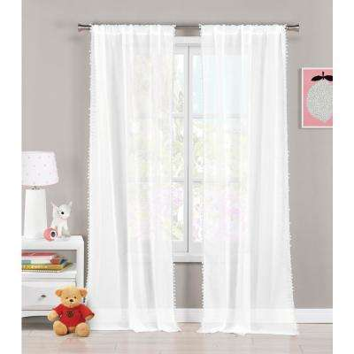 Aveline 38 in. x 84 in. L Polyester Pompom Curtain Panel in White (2-Pack)