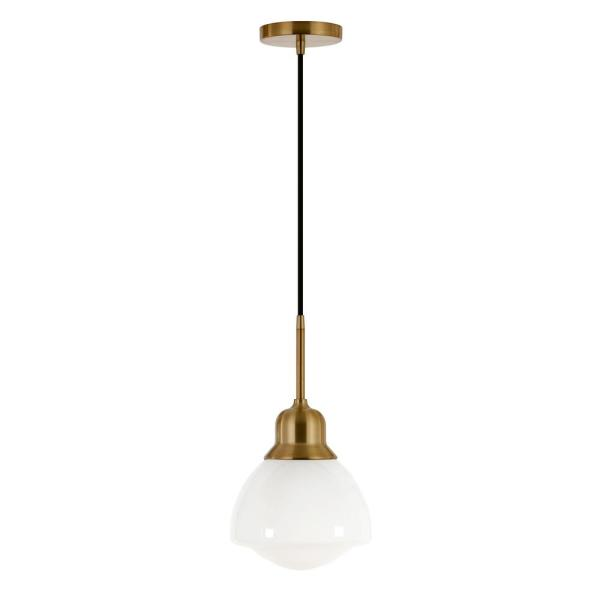 Brooks 1-Light Brass Pendant with White Milk Glass Shade