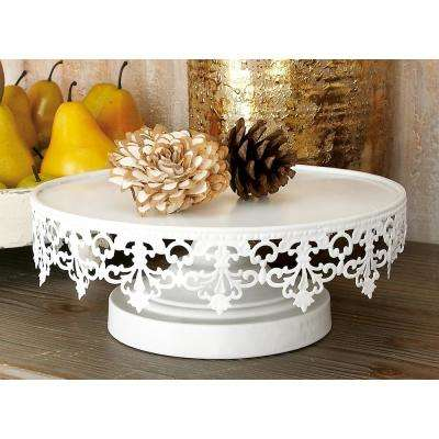 White Round Cake Stands with Cutout Lattice Lace Overhang (Set of 3)