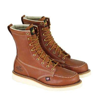 Men's American Heritage 8 inch Maxwear Wedge Work Boots - Leather Moc Safety Tor - Tobacco Size 10.5(D)
