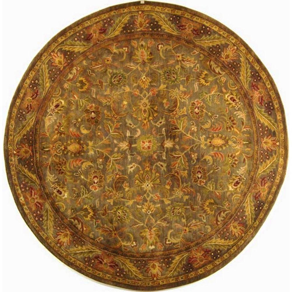 safavieh antiquity blue gold 8 ft x 8 ft round area rug at52c 8r the home depot. Black Bedroom Furniture Sets. Home Design Ideas