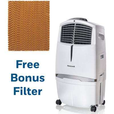 525 CFM 3-Speed Portable Evaporative Air Cooler for 320 sq. ft. with Remote Control in White with Replacement Filter
