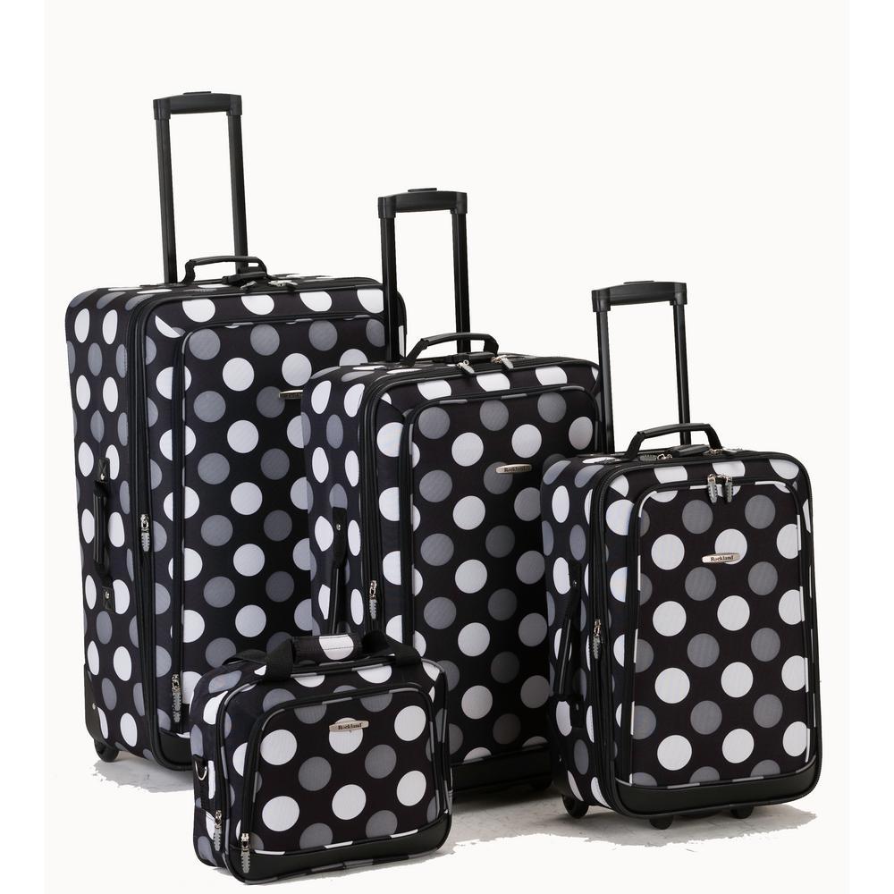 Rockland Beautiful Deluxe Expandable Luggage 4-Piece Softside Luggage Set, Blackdot