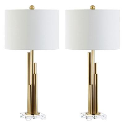 Hopper 32 in. Brass Gold Tiered Table Lamp with White Shade (Set of 2)