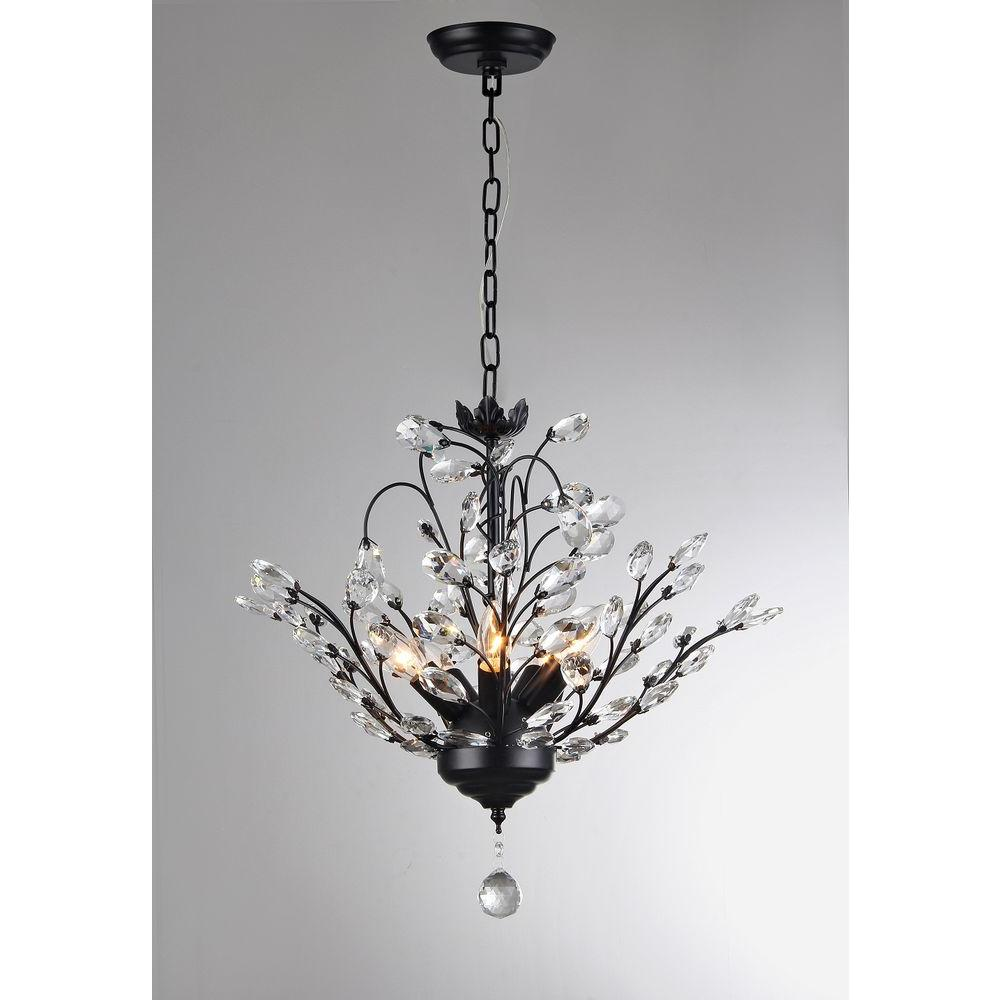 Aria 5 Light Black Crystal Leaves Chandelier With Shade